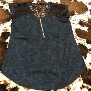 Express lace zipper  blouse